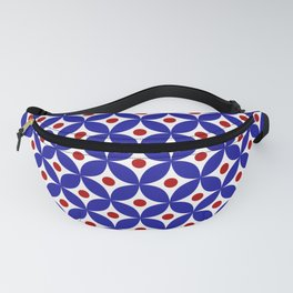 Bright blue, red and white elegant tile ornament pattern Fanny Pack