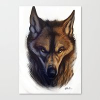 bad wolf Canvas Prints featuring Bad Wolf by Melantic Art & Illustration