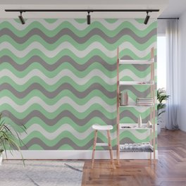 Pastel Green, Gray & Linen White Stripes Wavy Stripes Pairs to 2020 Color of the Year Neo Mint Wall Mural