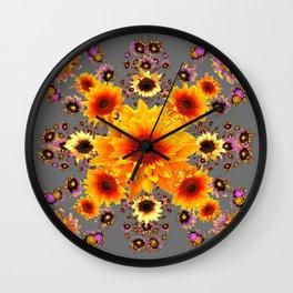 Yellow Sunflowers Floral Pattern Grey Art Wall Clock