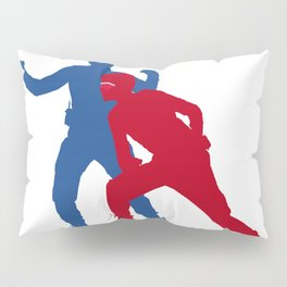 Captain Man and Kid Danger silhouettes with masks Pillow Sham