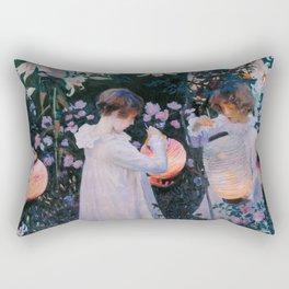 Carnation, Lily, Lily, Rose - John Singer Sargent Rectangular Pillow