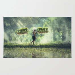 Indonesian Farmer Planting Rice Crop Rug
