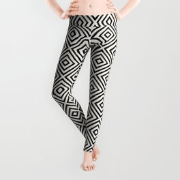 Black Ink Diamond Pattern Leggings