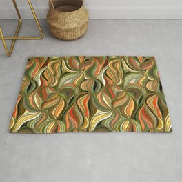 Boho Green & Red Wave Pattern Rug