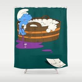 SUICIDAL SMURF  Shower Curtain