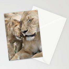 Lion cuddle Stationery Cards