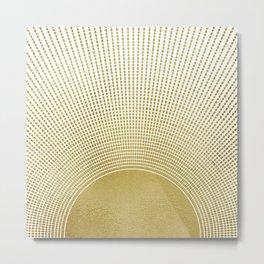 Golden Retro Sunburst Metal Print