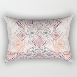Aztec Lines Floral Rectangular Pillow