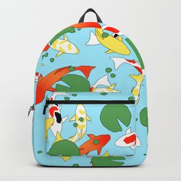 oriental koi with lotus in pond Backpack