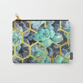 Succulent Geometric Modern Illustration Carry-All Pouch