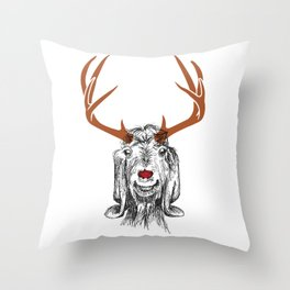 Rudolf the Red-Nose Goat Throw Pillow