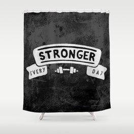 Stronger Every Day (dumbbell, black & white) Shower Curtain