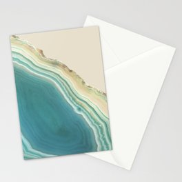Geode Turquoise + Cream Stationery Cards