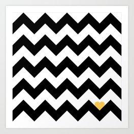Heart & Chevron - Black/Yellow Art Print