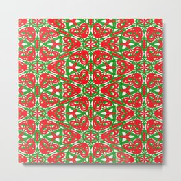 Red, Green and White Kaleidoscope 3375 Metal Print