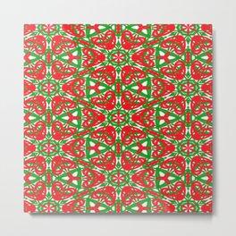 Red, Green and White Kaleidoscope 3375 Metal Print