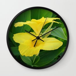 Closeup Of A Tropical Yellow Canna Lily Wall Clock