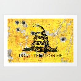 Gadsden Flag on Distressed Metal Sheet with Bullet Holes Art Print