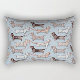 Origami Dachshunds sausage dogs // pale blue background Rectangular Pillow