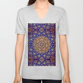N80 - Traditional Moroccan Geometric Art Floral Mandala. Unisex V-Neck