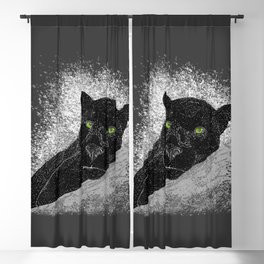 Black panther on a branch - Grey Blackout Curtain