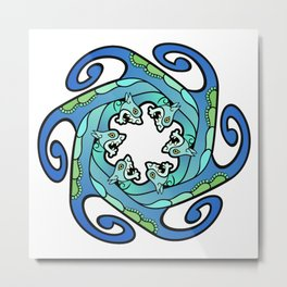 Sea Serpent Whirlpool Metal Print