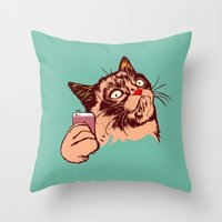 makeup Throw Pillows featuring No Makeup by beart24