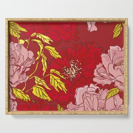 Peonies on Red Serving Tray
