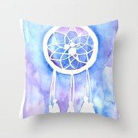 dream catcher Throw Pillows featuring Dream Catcher by Robin Ewers