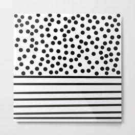 Spots and stripes, monochrome pattern Metal Print