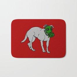 Dog Wearing A Gas Mask Bath Mat