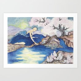 bloming in moonlight Art Print