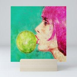 Bubble gum girl Mini Art Print