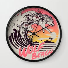 Wolf Beach Wall Clock