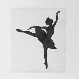 Ballerina silhouette (black) Throw Blanket