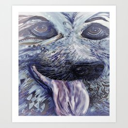 German Shepherd in Denim Colors Art Print