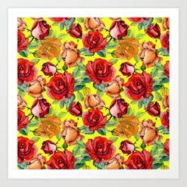 Botanical red orange yellow hand painted roses pattern Art Print