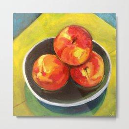 Three Peaches in a Bowl Metal Print