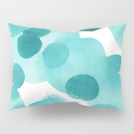 Aqua Bubbles: Abstract turquoise watercolor painting Pillow Sham