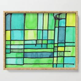 Green Frank Lloyd Wrightish Stained Glass Serving Tray