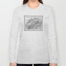 Vintage Map of Switzerland (1856) BW Long Sleeve T-shirt