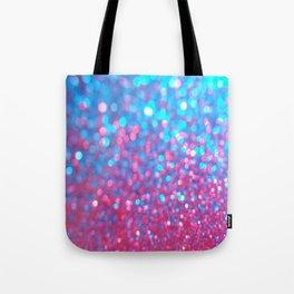 Sky Blue Pink Sparkle Glitter Gradient Tote Bag