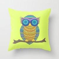 henna Throw Pillows featuring Henna Owl by haleyivers