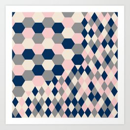 Honeycomb Blush and Grey Art Print