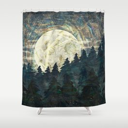Full Moon Over Mountain Forest Grunge and Abstract Design Shower Curtain