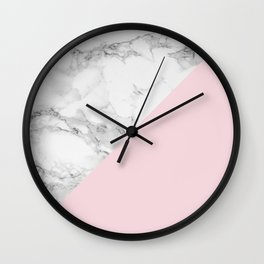 Marble + Pastel Pink Wall Clock