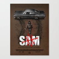 sam smith Canvas Prints featuring Sam by Six Eyed Monster