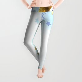 Blue Background with Gold Stars Leggings