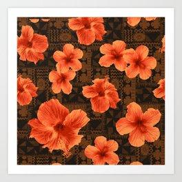 Kalalau Tapa Hawaiian Hibiscus Vintage Inspired Print Art Print